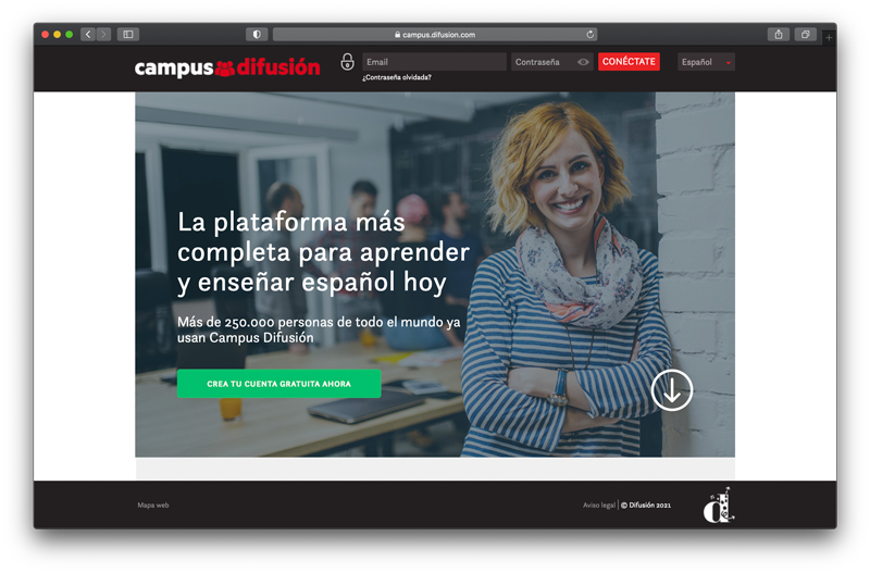 Campus Difusión - Screenshot of homepage